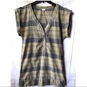 Splendid Khaki Green Cotton Striped Casual Dress